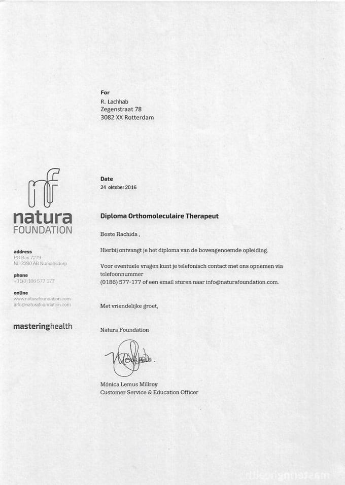 Diploma Lachhab Orthomoleculair therapeut Nederland Slank
